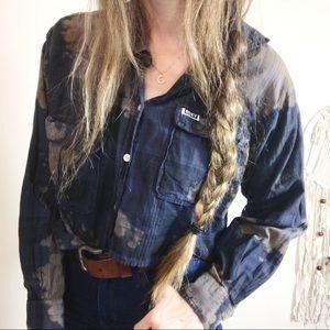 ROXY • Cropped Bleach Splattered Flannel